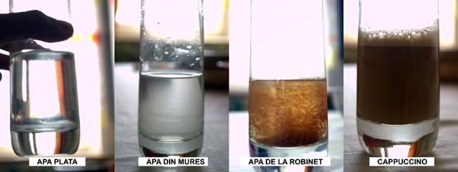 Camparatie intre apa plata, apa din raul Mures, un cappuccino si apa de la robinet in Ocna Mures