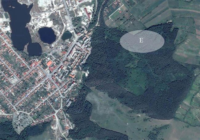 E - zona (cu aproximatie) unde se efectueaza lucrarile de rarire a padurii Banta