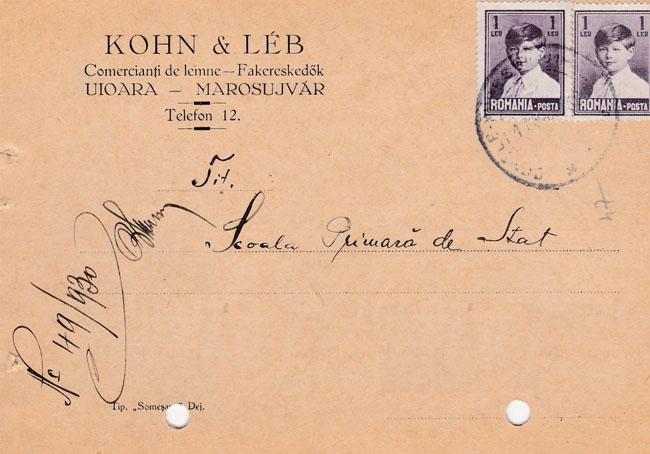 Foto 1. Firma Kohn & Leb instiinteaza printr-o carte postala la data de 17 martie 1930, o alta institutie de la acea vreme despre o datorie mai veche