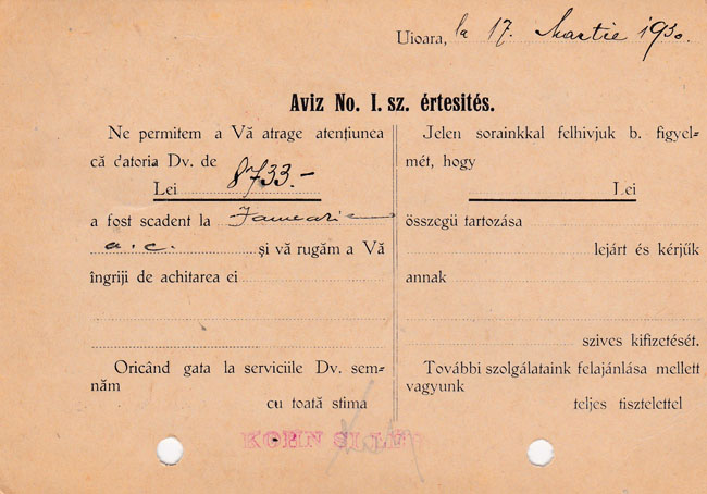 Foto 2. Firma Kohn & Leb instiinteaza printr-o carte postala la data de 17 martie 1930, o alta institutie de la acea vreme despre o datorie mai veche-verso